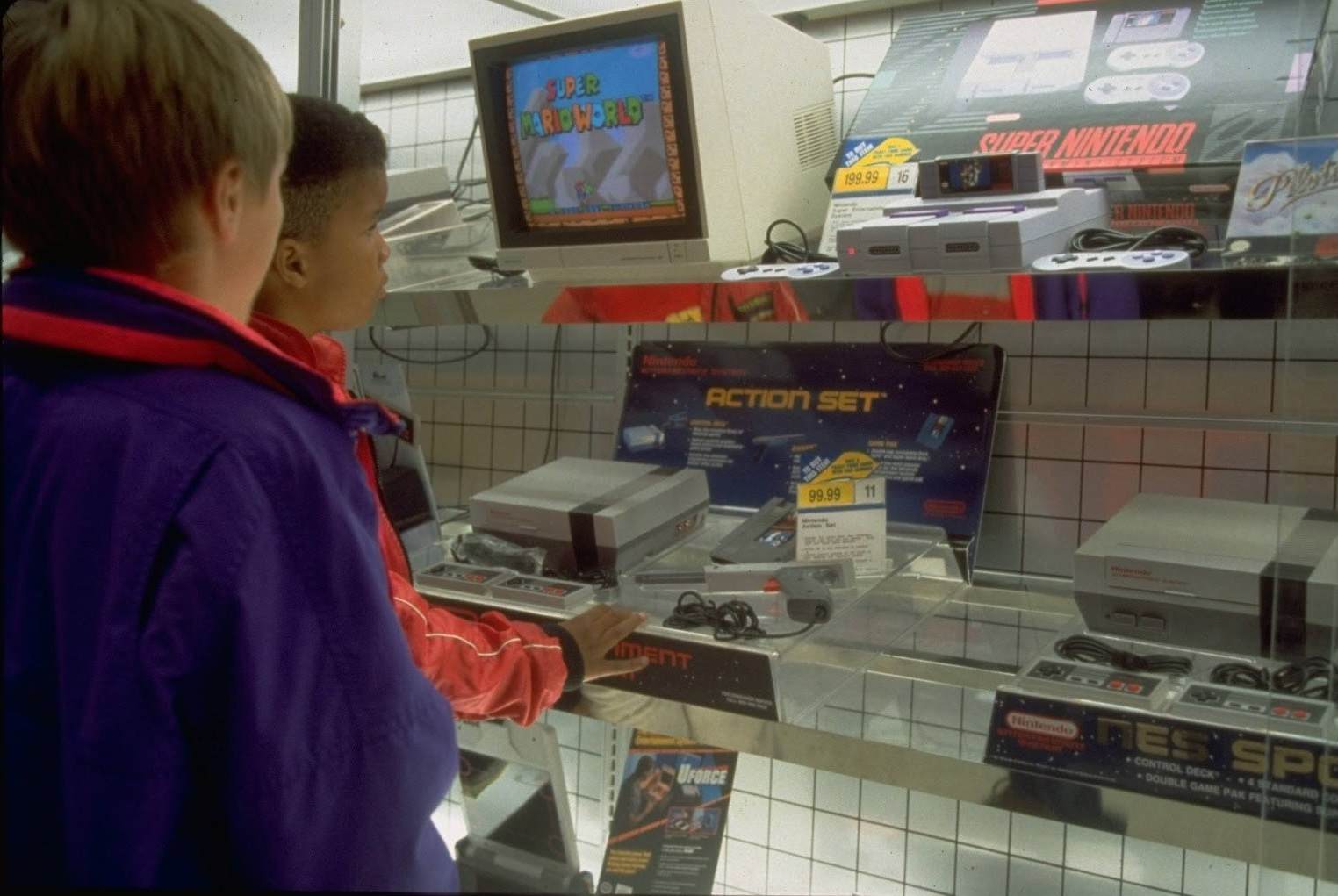 90s kids at a game shop