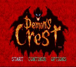Demon's Crest SNES title screen