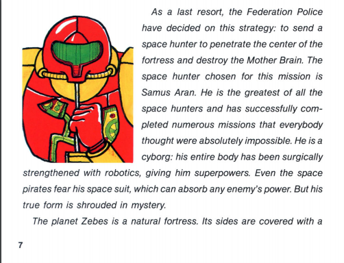 Metroid NES manual exerpt