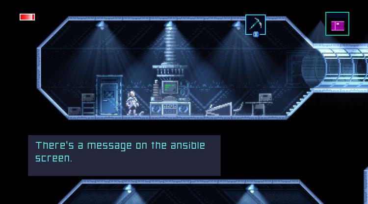 Axiom Verge 2 inside a laboratory
