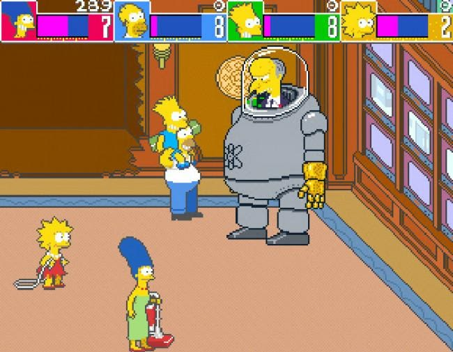Simpsons Arcade Game PS3 - the Simpsons battling Mr. Burns
